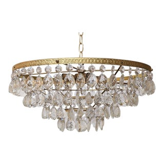 Gilt Brass and Crystal Chandelier by Palwa For Sale