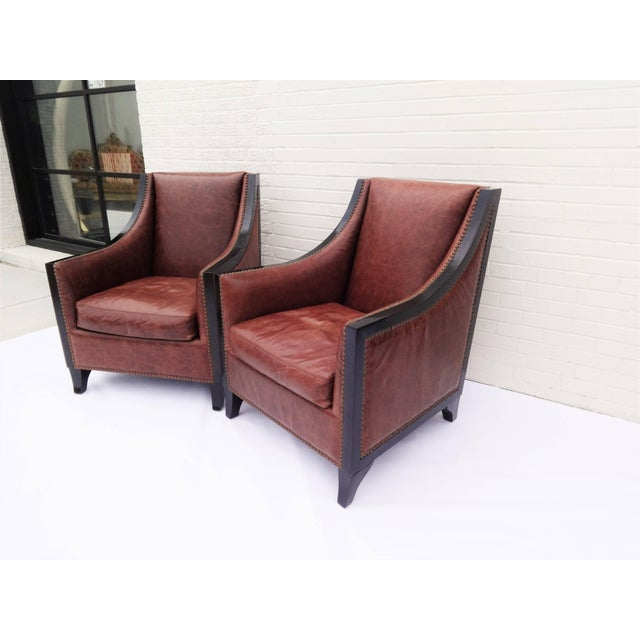 Pair of High Back Leather Club Chairs For Sale - Image 4 of 7