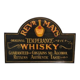 Early 20th Century Revd. Mays Temperance Rye Whiskey Sign For Sale