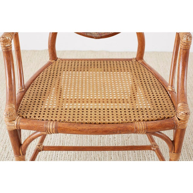 Red McGuire Rattan Chinoiserie Dining Armchairs - Set of 8 For Sale - Image 8 of 13