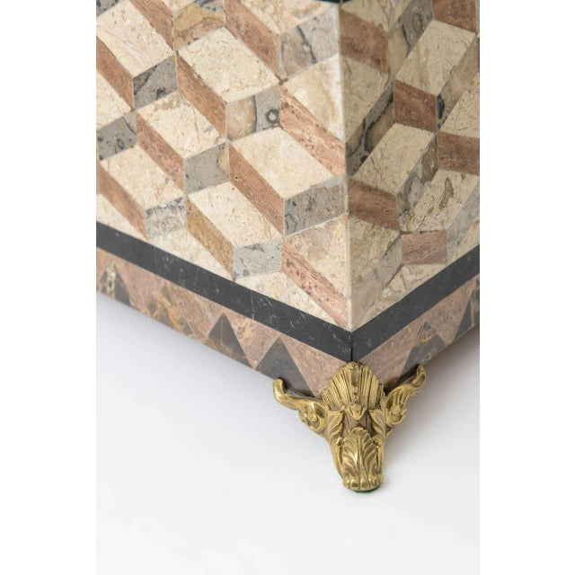 Gold English Regency Style Tessellated Stone Box For Sale - Image 8 of 11