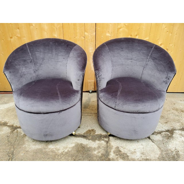 1980s Mid Century Modern Sculptural Directional Barrel Chairs on Casters Newly Uphostered - Pair For Sale - Image 5 of 12