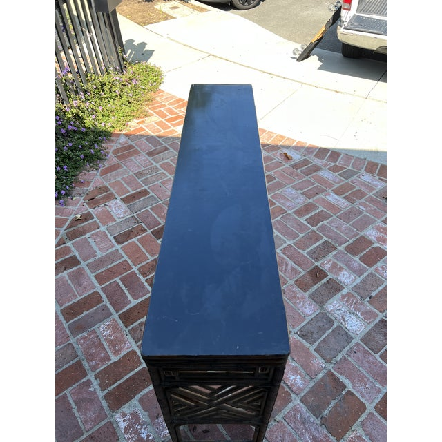 Antique Bamboo Chinoiserie Console For Sale - Image 4 of 12