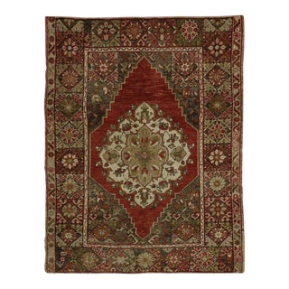 Vintage Mid-Century Distressed Turkish Oushak Accent Rug - 3′10″ × 5′ For Sale