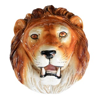 Large Italian Lion Head Wall Decor For Sale