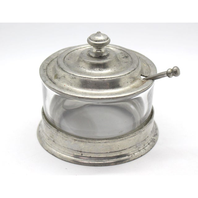 Pewter and glass sugar, jam or condiment holder by Match. All Match pewter is cast or spun, and finished by hand in...