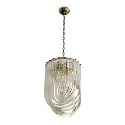 843e0a89fc71 1960s Vintage Spiral Hollywood Regency Style Lucite Ribbon Chandelier For  Sale