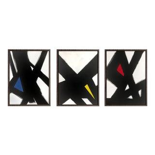 Black Slash Primary Triptych - 18x24 For Sale