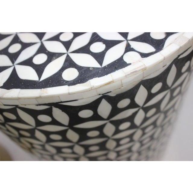 1990s Vintage Drum Tables Tessellated Black and White Bone - a Set of 2 For Sale - Image 5 of 13