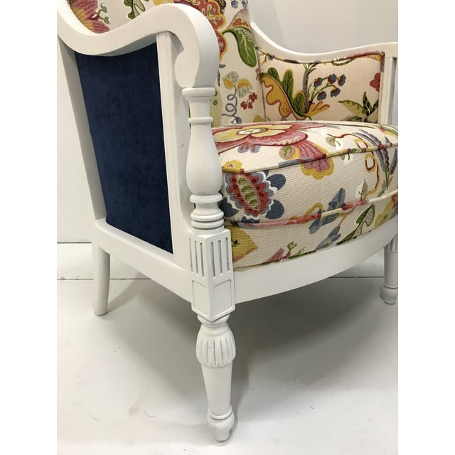 20th Century Pair Chairs Floral Pattern Cottage Style Painted Frames For Sale - Image 6 of 9