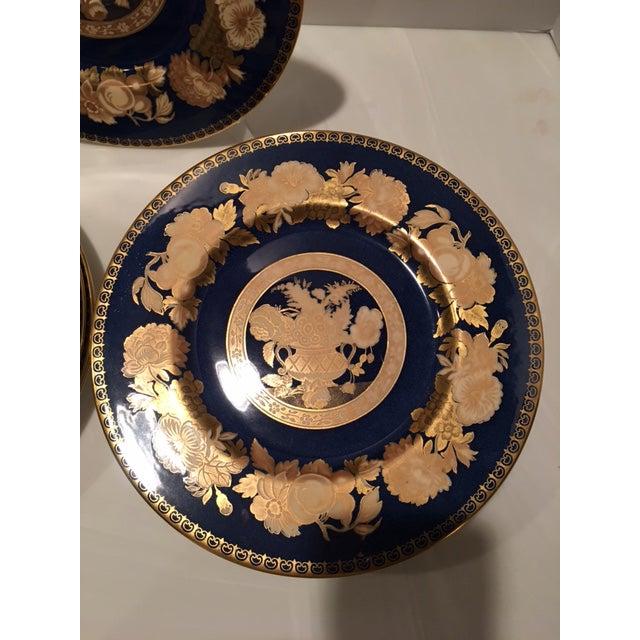 Ceramic Spode Blue & Gold Floral Service Plates - Set of 12 For Sale - Image 7 of 10