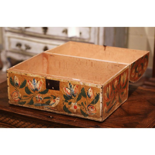 Mustard 18th Century French Normand Painted Wedding Box With Bird and Floral Motifs For Sale - Image 8 of 12