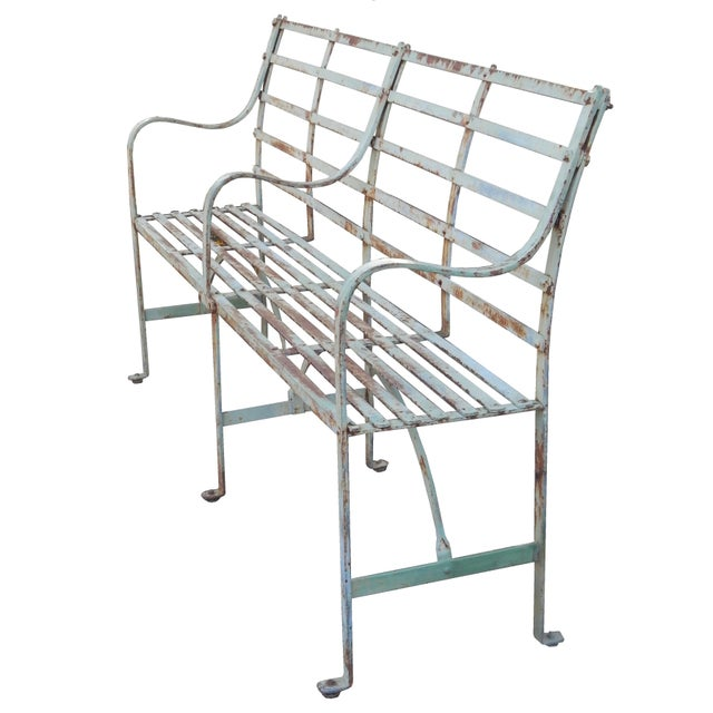 Metal Slatted Iron Bench For Sale - Image 7 of 9
