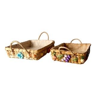 Vintage Raffia Floral Straw Basket Trays Pair For Sale