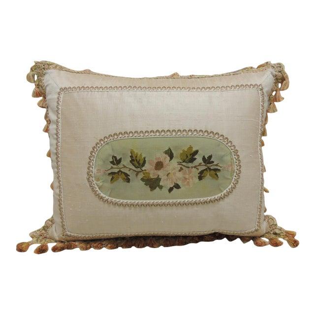 Antique Aubusson Center Tapestry Decorative Pillow For Sale