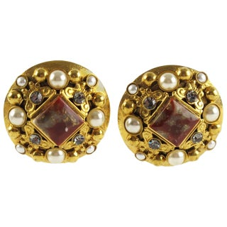 French Henry Perichon Gilt Metal Clip-On Earrings With Baroque Design For Sale