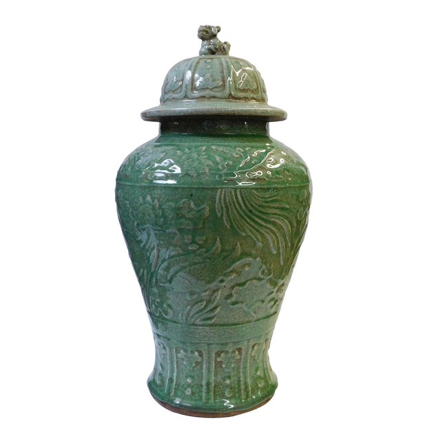 Chinese Crackle Celadon Green Temple Jar - Image 1 of 8