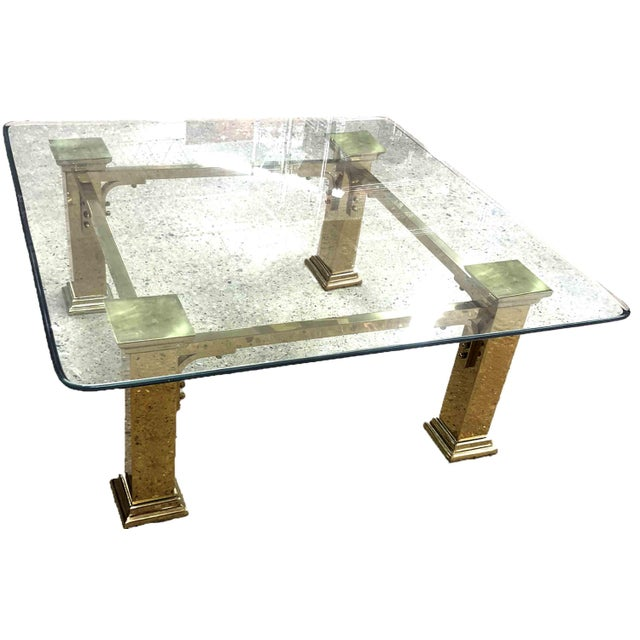 Metal 1960s Art Deco Style Solid Brass Coffee Table For Sale - Image 7 of 7