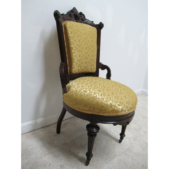 Traditional Antique Victorian Eastlake Carved Dining Room Side Desk Chair For Sale - Image 3 of 13