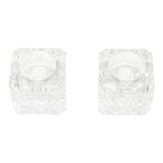 Waterford Crystal Cube Candle Holders - a Pair For Sale