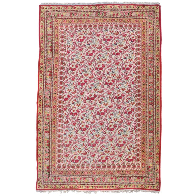 Islamic Yazd Persian Floral Rug - 3′10″ × 5′7″ For Sale - Image 3 of 3
