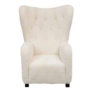 Fritz Hansen High Back Easy Chair Model 1672 in Sheepskin For Sale