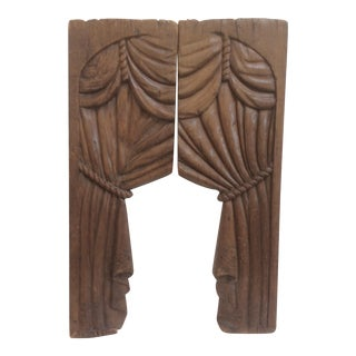 Carved Wood Panel Drapes for a Hearse - a Pair For Sale
