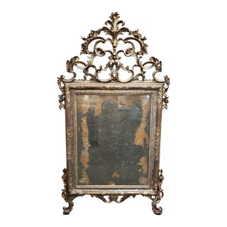 18th Century Italian Rococo Silver Gilt Mirror For Sale