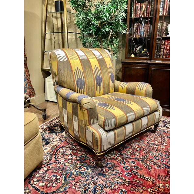 Textile Ralph Lauren Blue Label English Roll Arm Chair in a Southwestern Themed Upholstery For Sale - Image 7 of 7