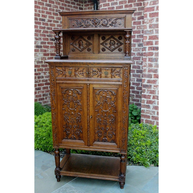 Antique French Oak 19th Century Renaissance Revival Gothic Vestry Sacristy Wine Altar Cabinet Bookcase For Sale - Image 13 of 13