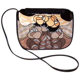 C.1980 Moon Bags Needlepoint Suede & Hand Painted Lacquer Wood Handbag For Sale
