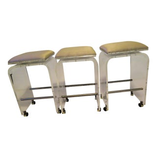 Hollis-Jones Style Revolving Bar Stools - Set of 3 For Sale