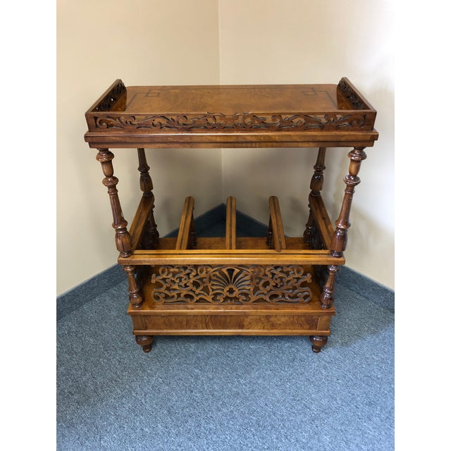 Brown Mobili Burl Canterbury and Console With Carved Fretwork For Sale - Image 8 of 12