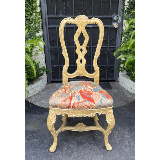 Early 20th Century Pair of Antique Venetian Side Chairs W Scalamandre Silk Lampas For Sale - Image 5 of 6