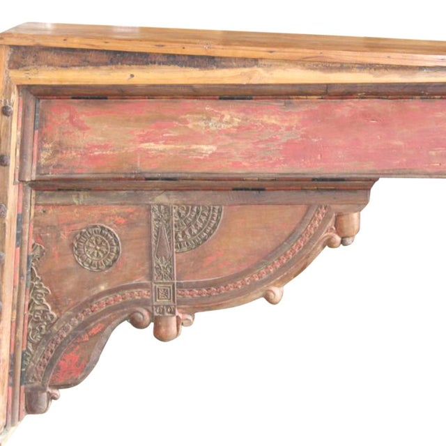 Rustic Red Beam Console Table For Sale - Image 3 of 4
