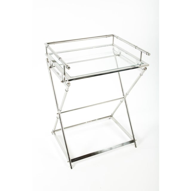 Mid-Century Modern Mid-Century Glass Top Bar Cart For Sale - Image 3 of 5