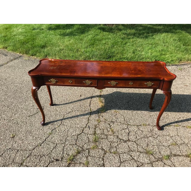 Traditional Walnut Console by Hekman For Sale - Image 10 of 10