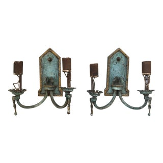 Arts + Crafts Vintage Sconces With Turquoise + Gold Patina For Sale