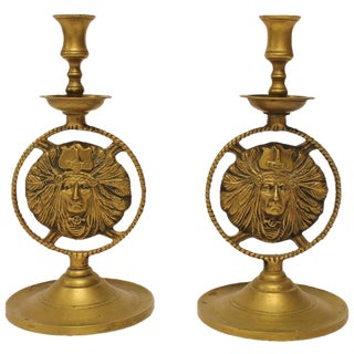 20th Century Vintage Brass Candlesticks- A Pair For Sale