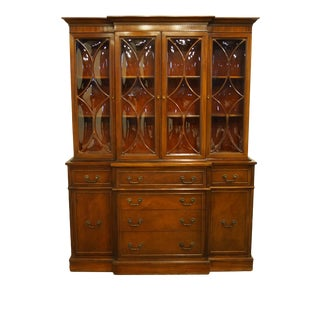 1960s Mahogany Traditional Style Secretary Credenza With Display China Cabinet Hutch For Sale