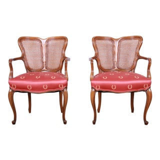 Vintage French Provincial Louis XV Style Armchairs, Pair For Sale