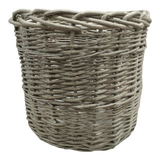 Vintage Monumental Round Willow Planter/Basket For Sale