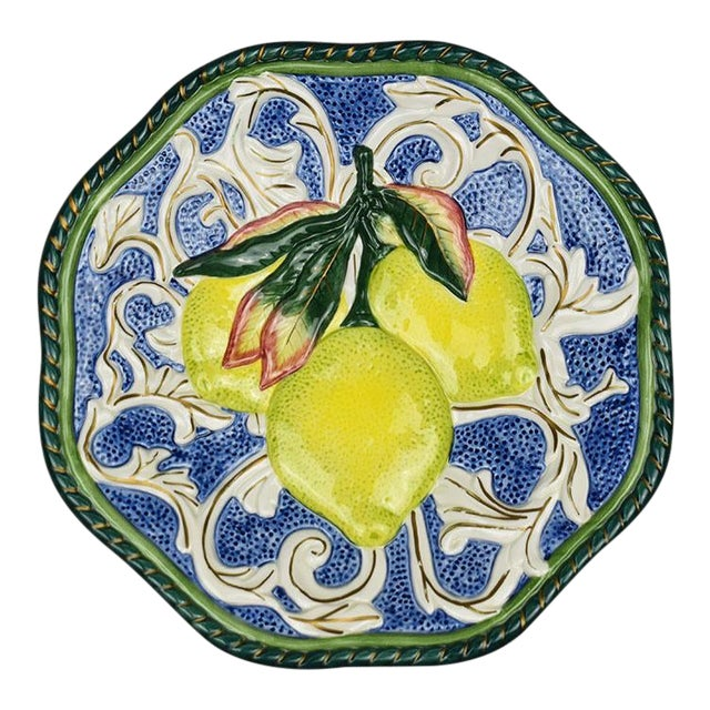 Ceramic Lemon Fruit Motif Majolica Decorative Trompe L'Oeil Plate Fitz & Floyd For Sale