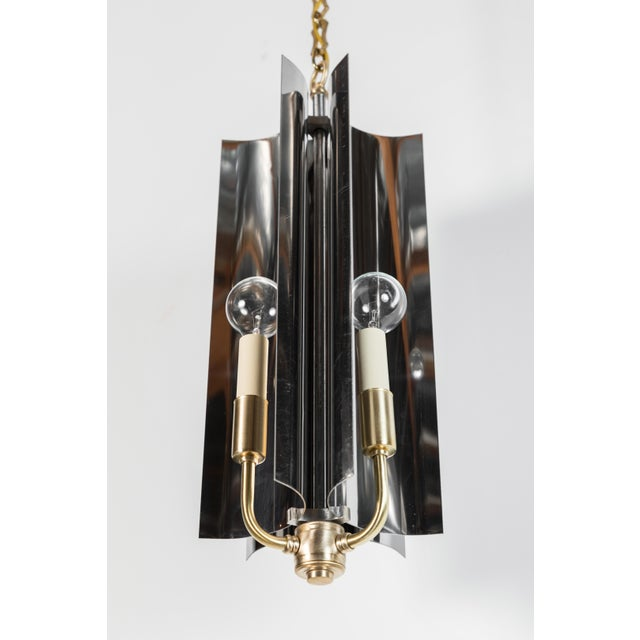 Contemporary Sculptural Mid-Century Modern Curved Pendant with Reflective Qualities For Sale - Image 3 of 7