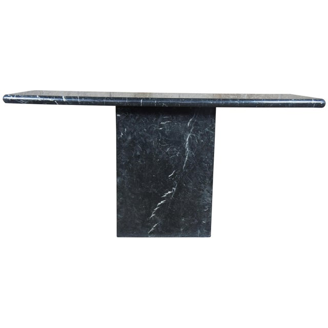 Mid century two piece console or sofa table. Features black Italian marble with white veins.