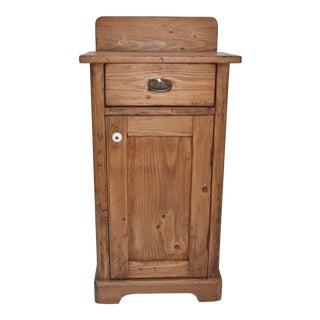 Pine Nightstand With Splashback For Sale