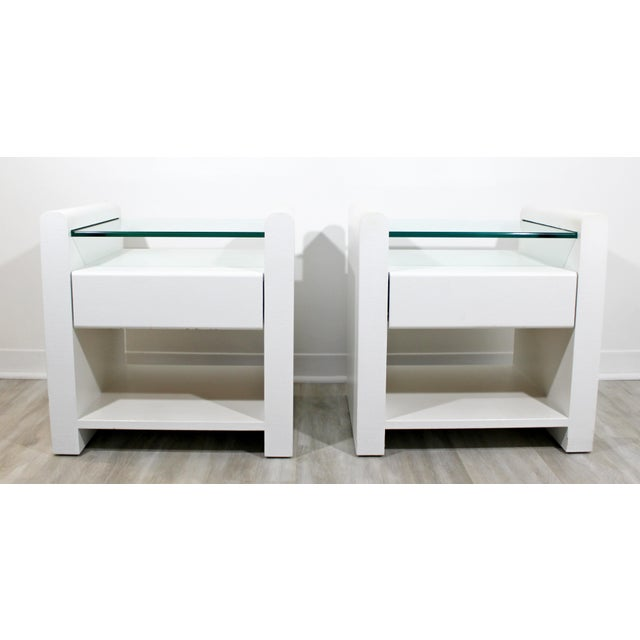 1980s Contemporary Modern White Lacquer & Glass Nightstands End Tables - a Pair For Sale - Image 9 of 9