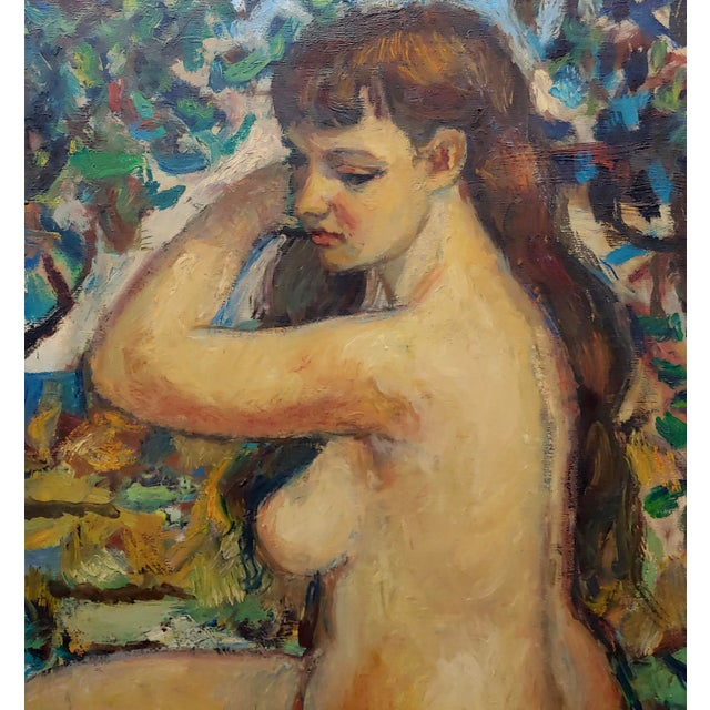 "Art Nouveau Robert Frame ""Young Nude Woman Seated"" Oil Painting For Sale - Image 3 of 9"