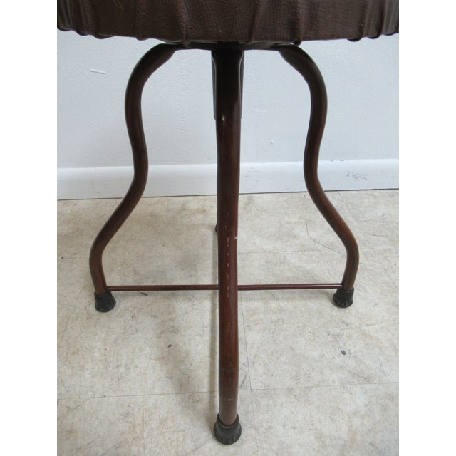 Brown 1950s Mid-Century Modern Industrial Doctor's Stool For Sale - Image 8 of 10