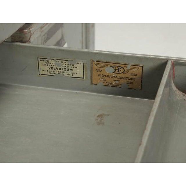 Gray Steel American Industrial Desk in Original Condition For Sale - Image 8 of 12